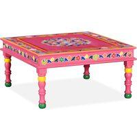vidaXL sofabord i massivt mangotræ lyserød håndmalet