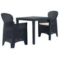 vidaXL udendørs spisebordssæt 5 dele plastik rattanlook antracitgrå