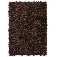 vidaXL shaggy tæppe ægte læder 160 x 230 cm brun