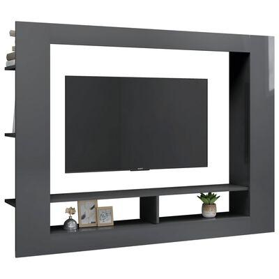 vidaXL tv-skab 152 x 22 x 113 cm spånplade grå højglans