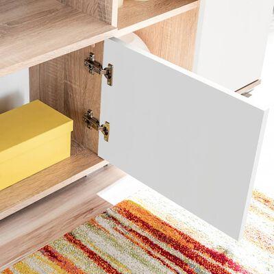 vidaXL TV-møbelsæt med LED-lamper sonoma-eg og hvid