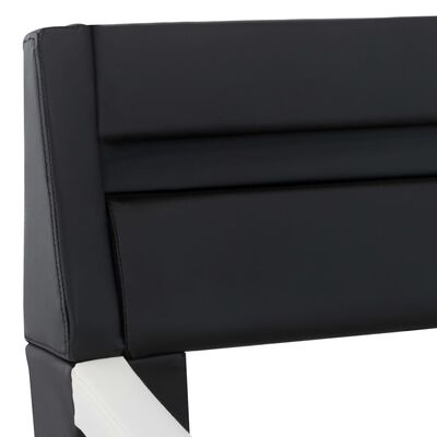vidaXL sengestel med LED 160 x 200 cm kunstlæder sort og hvid