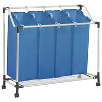 vidaXL vasketøjskurv med 4 poser stål blå