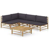 vidaXL loungesæt til haven 5 dele med mørkegrå hynder bambus