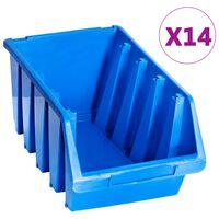 vidaXL stabelbare opbevaringskasser 14 stk. plastik blå