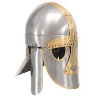 vidaXL middelalderlig hjelm til rollespil antik stål sølvfarvet
