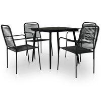 vidaXL udendørs spisebordssæt 5 dele bomuldstov og stål sort