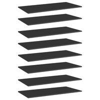vidaXL boghylder 8 stk. 80x20x1,5 cm spånplade sort højglans