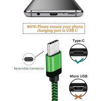 USB-C flettet opladerkabel 2m - grøn