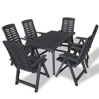 vidaXL udendørs spisebordssæt 7 dele plastik antracitgrå