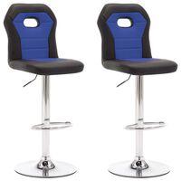 vidaXL barstole 2 stk. kunstlæder blå