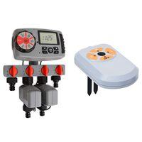 vidaXL automatisk vandingstimer med 4 stationer og fugtsensor 3 V