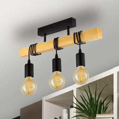 EGLO loftlampe Townshend 3 pærer træ sort og beige