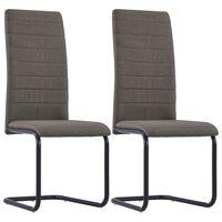 vidaXL spisebordsstole med cantilever 2 stk. stof gråbrun