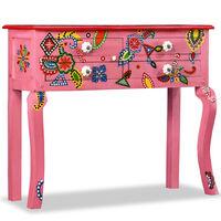 vidaXL konsolbord i massivt mangotræ lyserød håndmalet