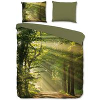 Good Morning sengetøj WOODS 200x200/220 cm grøn