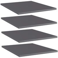 vidaXL boghylder 4 stk. 40x50x1,5 cm spånplade grå højglans