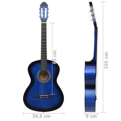 """vidaXL klassisk guitar til begyndere 4/4 39"""" lindetræ blå"""