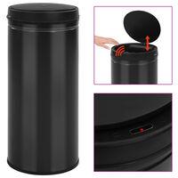 vidaXL affaldsspand med sensor 80 l kulstofstål sort