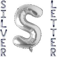 Brevballon 53 cm, bogstav S - sølv