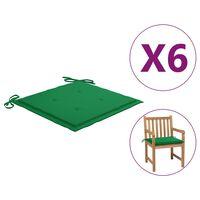 vidaXL hynder til havestol 6 stk. 50x50x4 cm stof grøn