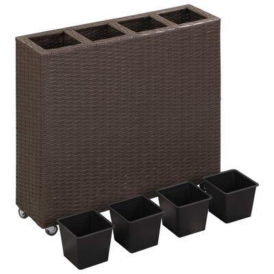 vidaXL hævet plantekasse med 4 krukker 80x22x79 cm polyrattan brun