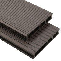 vidaXL hule terrassebrædder med tilbehør WPC 15 m² 4 m mørkebrun