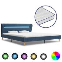 vidaXL seng med LED og madras i memoryskum 180 x 200 cm stof blå