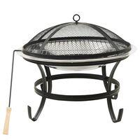vidaXL 2-i-1 bålfad og grill med ildrager 56x56x49 cm rustfrit stål