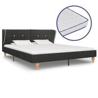 vidaXL seng med madras i memoryskum 160 x 200 cm sækkelærred mørkegrå