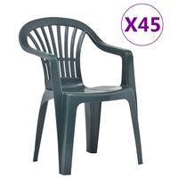 vidaXL stabelbare havestole 45 stk. plastik grøn