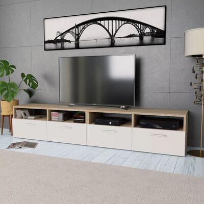 vidaXL TV-skabe 2 stk. spånplade 95 x 35 x 36 cm egetræ og hvid