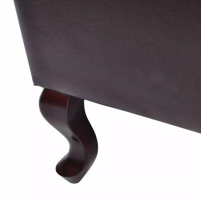 vidaXL lænestol med fodskammel kunstlæder mørkebrun