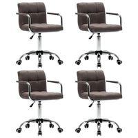 vidaXL drejelige spisebordsstole 4 stk. stof gråbrun