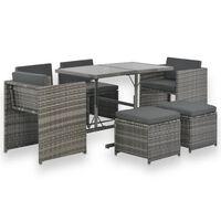 vidaXL udendørs spisebordssæt 7 dele med hynder polyrattan grå
