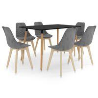 vidaXL spisebordssæt 7 dele grå