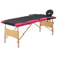 vidaXL foldbart massagebord 2 zoner træ sort og pink