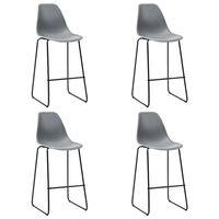 vidaXL barstole 4 stk. plastik grå