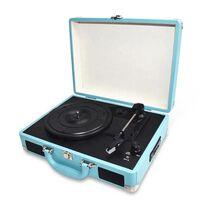 Bærbar Vinylafspiller Med Taske Blå
