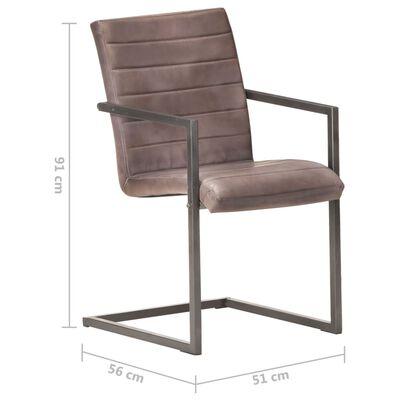 vidaXL spisebordsstole med cantilever 2 stk. ægte læder brun
