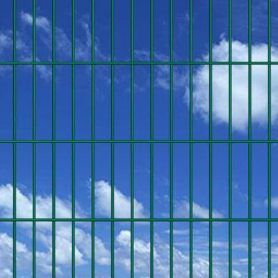 vidaXL 2D paneler og pæle til havehegn, 2.008x1.830 mm, 12 m, grønne