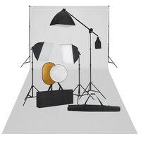 vidaXL fotostudieudstyr med softbox-lamper, baggrund og reflektor