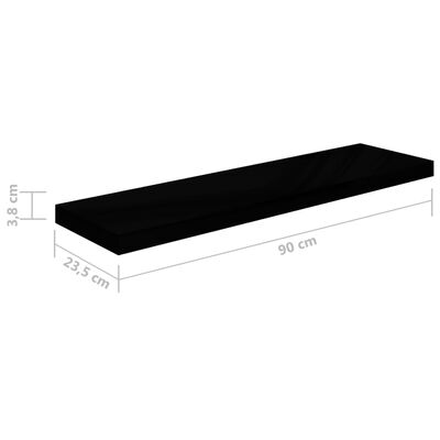 vidaXL svævehylder 4 stk. 90x23,5x3,8 cm MDF sort højglans