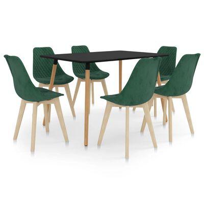 vidaXL spisebordssæt 7 dele mørkegrøn