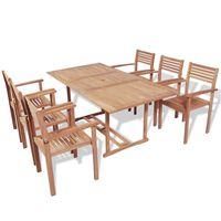 vidaXL udendørs spisebordssæt 7 dele massivt teaktræ