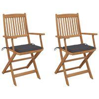 vidaXL foldbare havestole 2 stk. med hynder massivt akacietræ