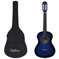 """vidaXL klassisk guitar med taske for begyndere og børn 1/2 34"""" blå"""