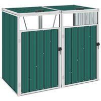 vidaXL dobbelt skraldespandsskur 143x81x121 cm stål grøn