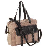 vidaXL håndtaske 40 x 53 cm kanvas og ægte læder brun
