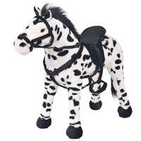 vidaXL stående legetøjshest plys sort og hvid XXL